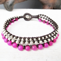 Bead Bracelet - Three Lines Knotted Bracelet with 4mm Pink Quartz  at Blisby