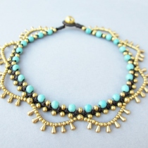 Boho Brass Bead Water drop Cascade Anklet with Turquoise Bead at Blisby