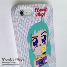 Turquoise, Handmade Phone Case with Moody Cute Cartoon, iPhone&Galaxy at Blisby