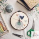 Cross-stitch hoop art clock ลาย Pastel elephant ขนาด 6 นิ้ว