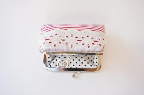 Red and White Striped Card Holder | กระเป๋าใส่uามบัตร ลายทางขาวแดง large image 1 by TunyTinyTreats