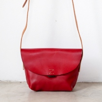 Small Cross-body Leather Bag in Red at Blisby