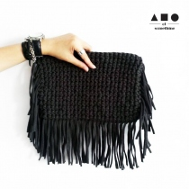 FRINGE CLUTCH (DARK GREY) at Blisby