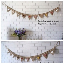 Fabric Bunting ธง ผ้ากระสอบ ประดับตกแต่ง  at Blisby