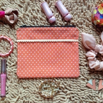 MFD polka dot orange pouch*Handmade* สีส้ม ลายจุด at Blisby