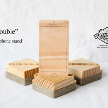"""Double"" wood phone stand at Blisby"