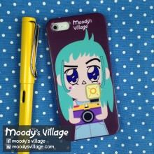Turquoise Portrait, Phone Case Moody Cute Cartoon,iPhone&Galaxy at Blisby