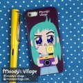 Turquoise Portrait, Phone Case Moody Cute Cartoon,iPhone&Galaxy