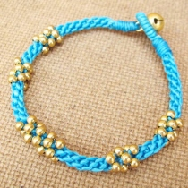 Blue Mala Macrame Bracelet with 3mm Brass Bead at Blisby