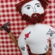 TATTOO MAN WITH BEARD DOLL ,Hand Painted