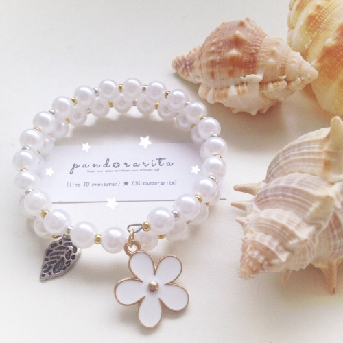 {white pearl with daisy bracelet} large image 1 by pandorarita