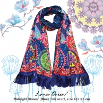 Midnight Bloom (Blue) Silk scarf at Blisby