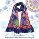 รูปสินค้า Midnight Bloom (Blue) Silk scarf