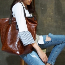 Leather Tote Bag (Rustic Brown) at Blisby