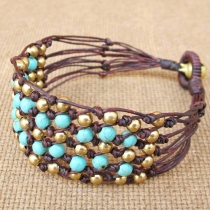 Beaded Turquoise Net Knot Bracelet with Brass Bead at Blisby