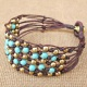 Beaded Turquoise Net Knot Bracelet with Brass Bead