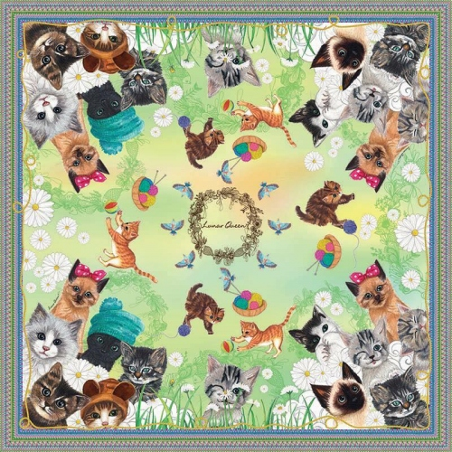 Kittens Silk Scarf (Green) large image 0 by LunarQueen