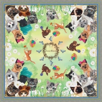 Kittens Silk Scarf (Green) at Blisby