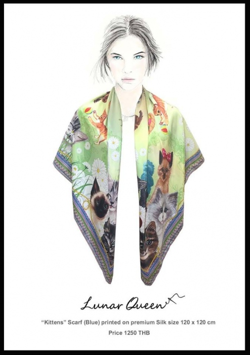 Kittens Silk Scarf (Green) large image 1 by LunarQueen