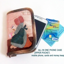 Quilted Phone Case Pocket, zippered pocket, all in one - mobile phone at Blisby