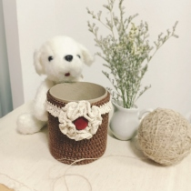 Little Crochet Basket 8 cm * 10 cm ( สีน้ำตาล) by Banlangdokmai  at Blisby