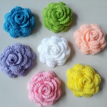 กุหลาบโครเชต์ - Lot 7 pcs Rose Handmade Crochet Flowers at Blisby