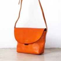 Small Cross-body Leather Bag in Tan Brown at Blisby