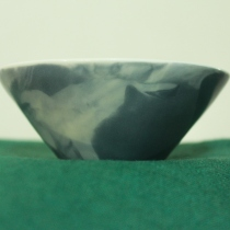 Ceramics Side cup, White and Cool Gray Marble Color at Blisby
