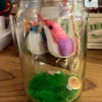 Lovely Bird in glass bottle  at Blisby