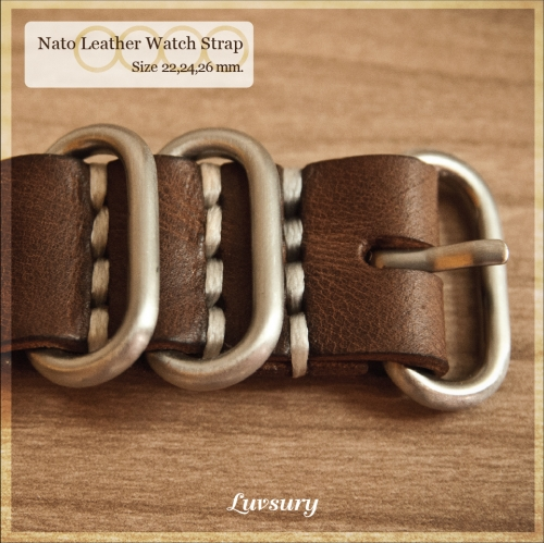 Nato Leather Watch Strap large image 2 by Luvsury