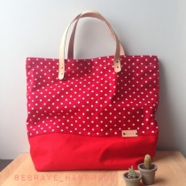 Red polka dot tote at Blisby