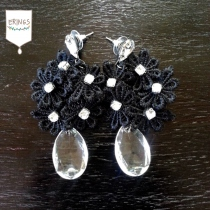 Black Flower Drop Earring at Blisby