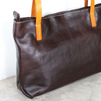 Dark Brown Leather Zipper Tote Bag / Retro Leather Handbag at Blisby