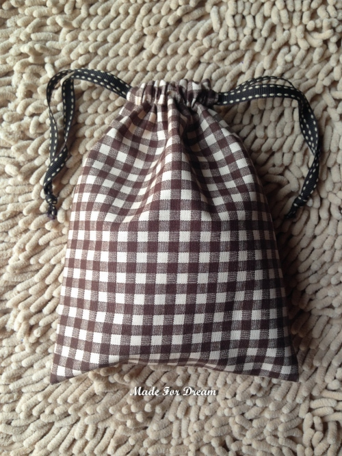 MFD plaid brown drawstring bag *Handmade* สีน้ำตาล ลายสก็อต large image 0 by MadeForDream