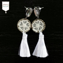 White Tassel Earring at Blisby
