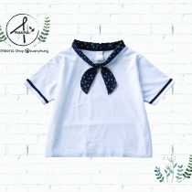 Navy bow collar shirts at Blisby