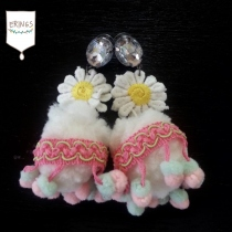 Fluffy Daisy Earring in Pastel at Blisby