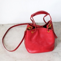Small Square Leather Bucket Cross-body Bag/ Red Leather Tote Handbag at Blisby