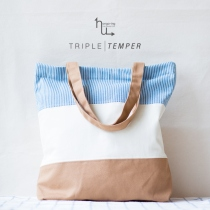 Sky Blue Stripe, Triple Temper Totebag at Blisby