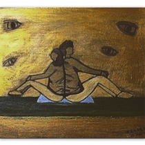 """Cant see...but still see "" Acrylic painting on wood-plate at Blisby"