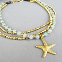 Amazonite Anklet - Multi Strands Amazonite Bead and Brass Bead added  at Blisby