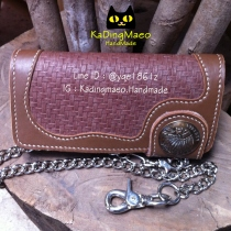 Brown leather wallet ปั้มลาย at Blisby