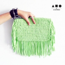 FRINGE CLUTCH (PASTEL GREEN) at Blisby