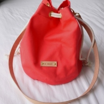 Pink Sherbet Canvas Bucket Bag at Blisby