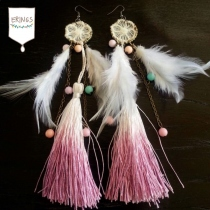 Sweet Two-Tone Tassel Earrings (PINK) at Blisby