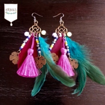 Gold Leaf Long Feather Earrings - Pink & Green at Blisby