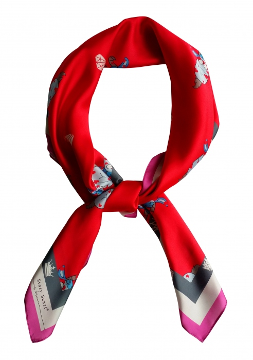 SQAURE SCARFwith YEAR OF THE GOAT,silk satin scarf,Chinese New Year  large image 3 by WELoveThailandscarf