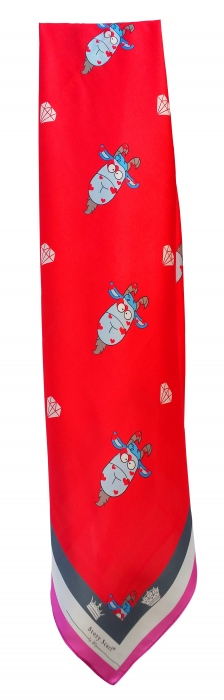 SQAURE SCARFwith YEAR OF THE GOAT,silk satin scarf,Chinese New Year  large image 4 by WELoveThailandscarf