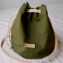 Military Green Canvas Bucket Bag at Blisby