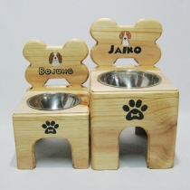 Pet Bowl Stand รุ่น -> Single Bowl with Bone at Blisby